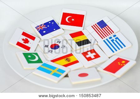International Flags Of The World On A White Pate