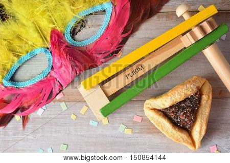 Flat Lay Of Purim Jewish Holiday Food And Objects