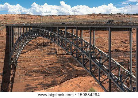 Page,Arizona,USA - July 20, 2016 : The Glen Canyon Dam Bridge over the Colorado River