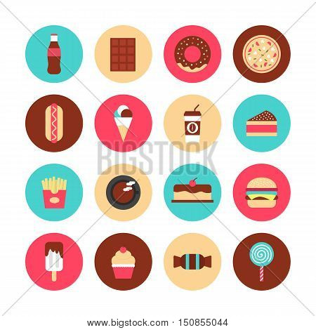 set of fast food and sweet flat icon high calories isolated on white background