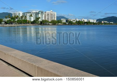 Urban landscape view of Cairns waterfront skyline in Queensland Australia poster
