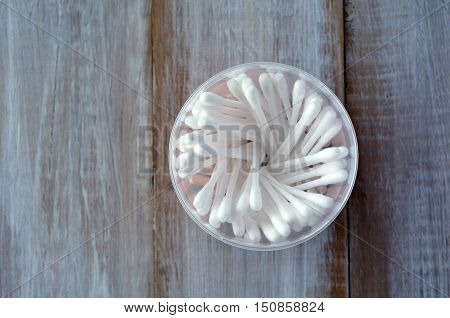 Many Cotton Swabs In A Round Container