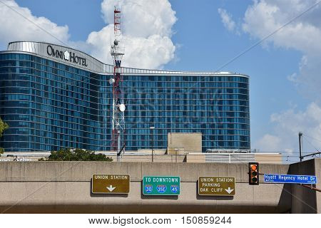 DALLAS, TX - SEP 17: Omni Hotel in Dallas, Texas, as seen on Sep 17, 2016. It is connected via sky bridge to the Dallas Convention Center and is close to restaurants, shops and Dallas Arts District.