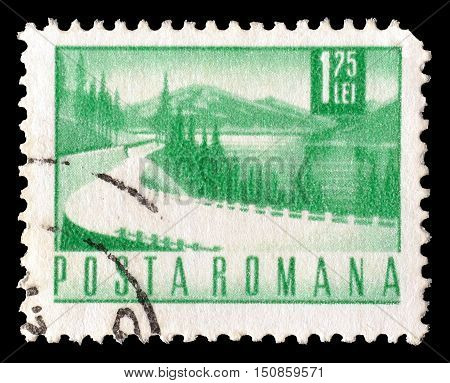 ROMANIA - CIRCA 1967 : Cancelled postage stamp printed by Romania, that shows Lake.