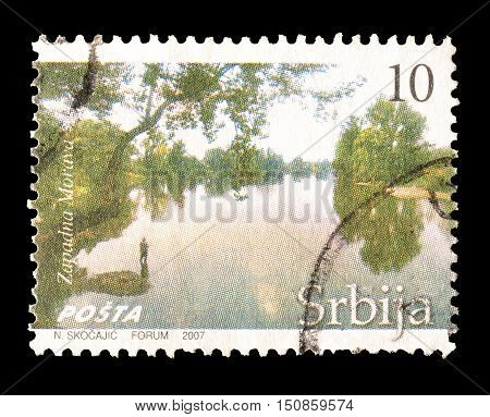 SERBIA - CIRCA 2007 : Cancelled postage stamp printed by Serbia, that shows River Zapadna Morava.
