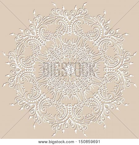 Circular vector ethnic mehndi pattern, template for mehndi ornament. Hand drawn ornamental flowers. Set of indian style ornaments. Floral mehndi ornamental elements henna