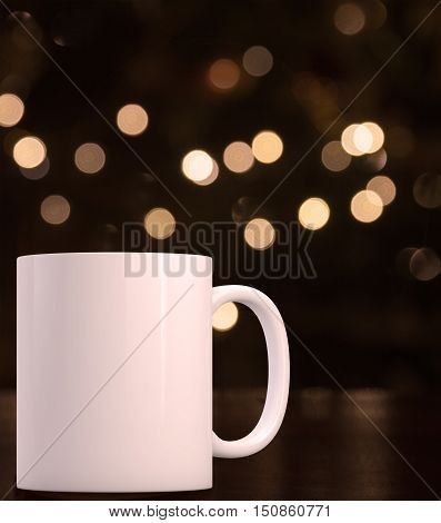 Christmas mock up styled stock product image white blank coffee mug that you can overlay your custom design or quote on to.