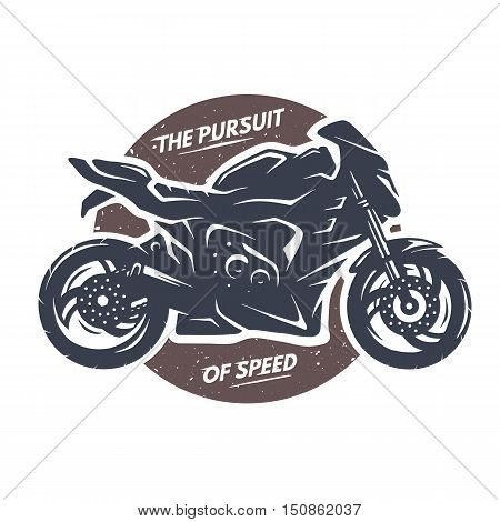 Sport superbike motorcycle. Emblem t shirt design.