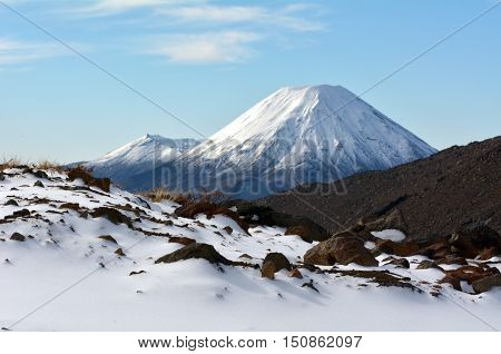 Winter Landscape Of Mount Ngauruhoe  And Mount Tongariro