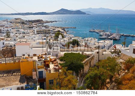 View of the old town of Naxos and its port from the castle.