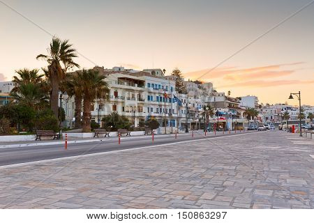 NAXOS, GREECE - SEPTEMBER 23, 2016: Seafront and the port of Naxos town on September 23, 2016.