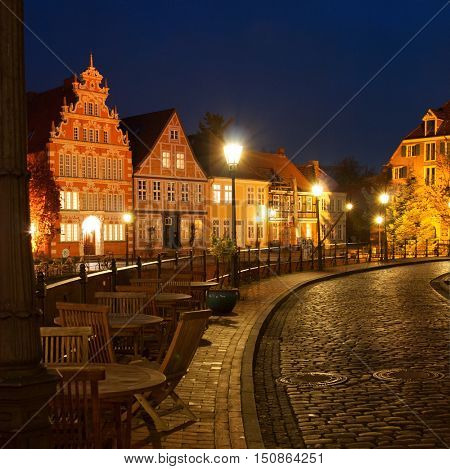 View of the old houses near hanse-harbor of Stade, Lower Saxony, Germany
