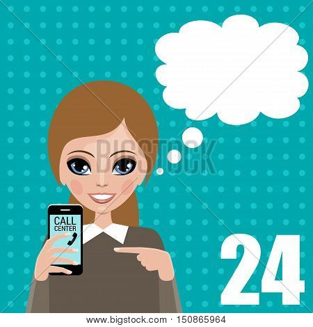 Woman blank speech bubble. Round-the-clock telephone support. Vector