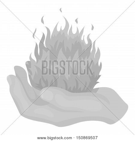 Fire spell icon in monochrome style isolated on white background.   white magic symbol vector illustration.