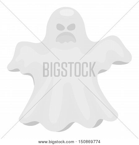 Ghost icon in monochrome style isolated on white background.   white magic symbol vector illustration.