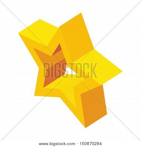 Glossy golden star icon in isometric 3d style isolated on white background vector illustration
