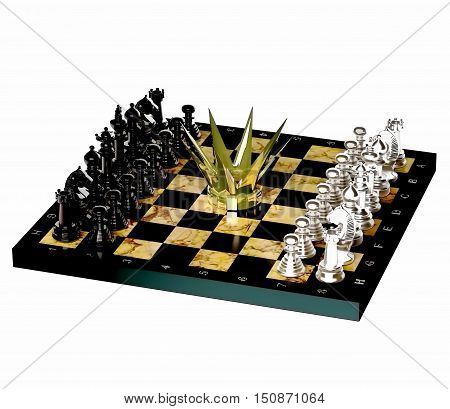World championship chess crown. Chess is located on a chessboard. 3D illustration