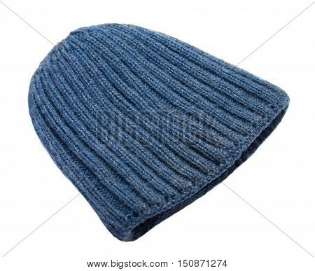 Warm knitted blue hat isolated on white background