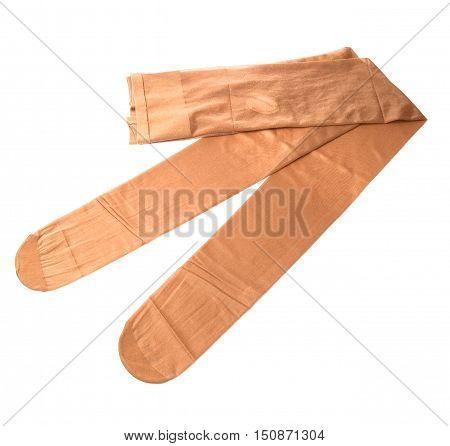New nylon pantyhose isolated on white background