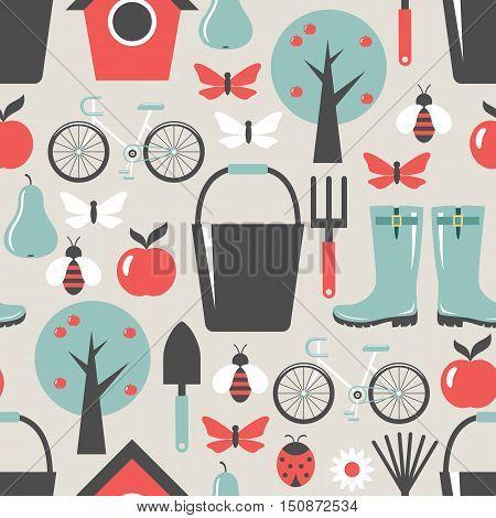 Garden pattern seamless. Harvest fruits. Background. Vector