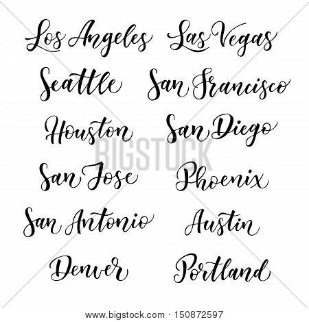American city vector lettering. Typography USA - Los Angeles Las Vegas Seattle San Francisco Houston San Diego San Jose Phoenix San Antonio Austin Denver Portland on white background