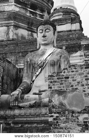 buddha in ayuttaya thailand black and white concept