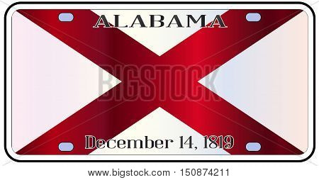 Alabama state license plate in the colors of the state flag with the flag icons over a white background