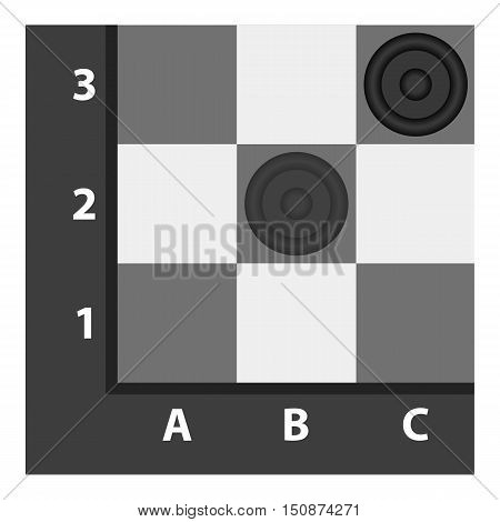 Checkers icon in monochrome style isolated on white background. Board games symbol vector illustration.