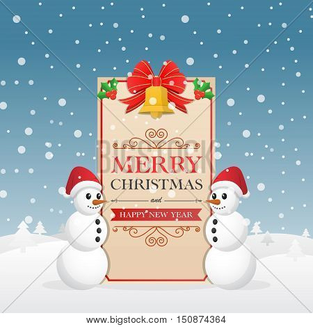 Christmas Greeting Card With Snowman And Decorative Christmas Bells