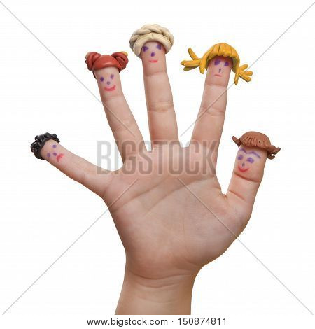 Men drawn on the fingers with plasticine wigs