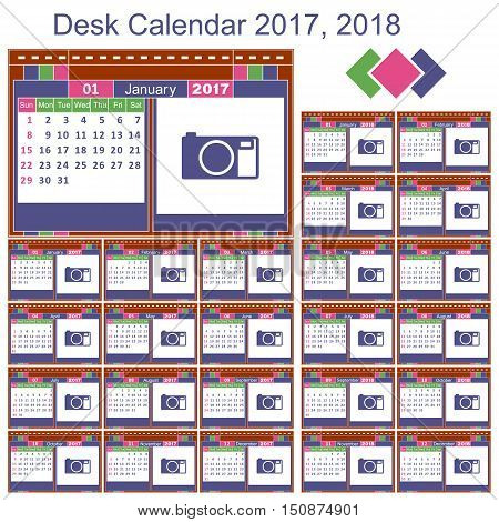 Desk calendar. Set print template for 2017 and 2018.