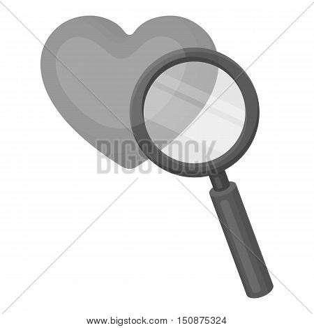 Searching a love icon in monochrome style isolated on white background. E-commerce symbol vector illustration.