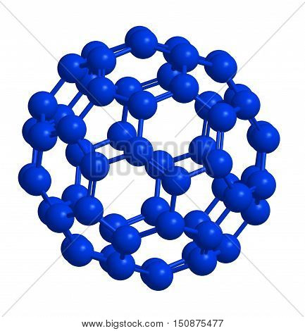 Molecular structure of fullerene (blue) - carbon atoms in form of hollow sphere 3D rendering