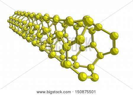 Molecular structure of nanotube (yellow) - carbon atoms in form of hollow tube 3D rendering