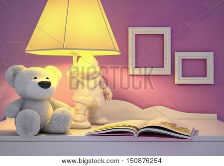 Children's toy book the lamp are located on a table. 3D illustration