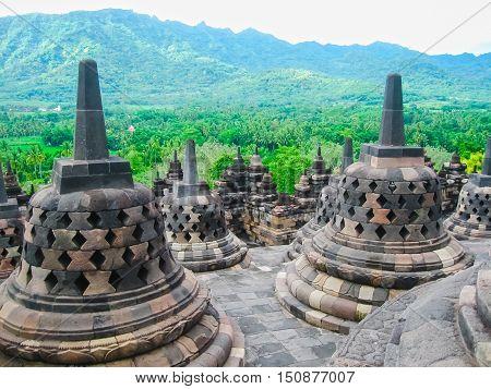 Stupas in Borobudur Temple, Central Java, Indonesia