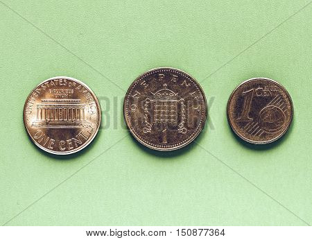Vintage Dollars, Euro And Pounds - 1 Cent, 1 Penny
