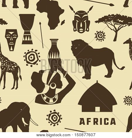 Africa icons set pattern. Vector illustration, EPS 10