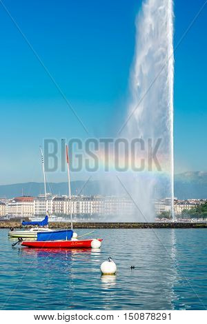 Geneva, Switzerland - June 23, 2016: Jet d'Eau fountain in Geneva. It is a largest fountain in Geneva and is one of the city's most famous landmarks.
