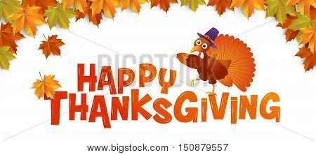 autumn Happy Thanksgiving Typography turkey vector Illustration Maple leaves Background