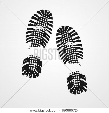 Black shoe print on white background. Illustration of shoe prints. Black shoe print icon. Vector illustration.