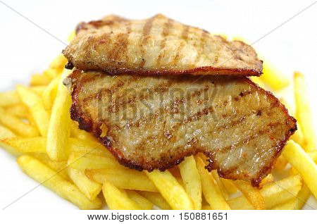 fried meat and chips on white plate