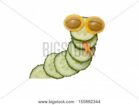 Funny snake made of cucumber on isolated background
