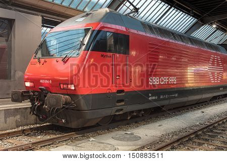 Zurich, Switzerland - 9 October, 2016: a locomotive at Zurich main railway station. Zurich main railway station (German: Zurich HB) is the largest railway station in Switzerland and one of the busiest railway stations in the world.