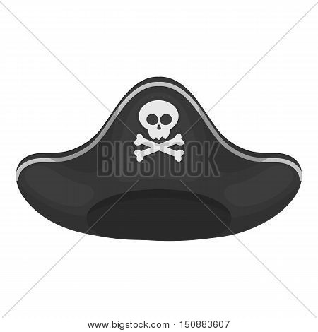 Pirate hat icon in monochrome style isolated on white background. Hats symbol vector illustration.