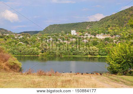 landscape of Moldavian village Rascov on the shore of river Dniester