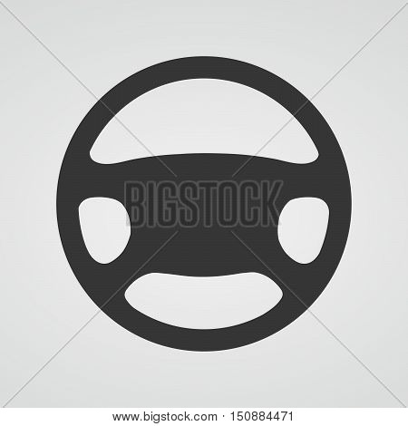Steering wheel icon isolated. Vector illustration. Black car steering wheel symbol.