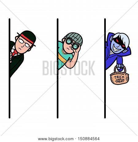 Illustration of people peeking behind the wall