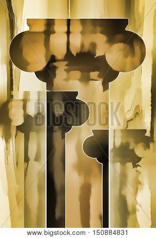 Columns background. Silhouettes of columns with capitals on a gray-brown background. 3D illustration