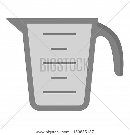 Measuring cup icon in monochrome style isolated on white background. Kitchen symbol vector illustration.
